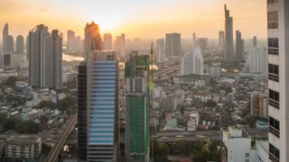 Business District at sunset, Bangkok, Thailand, South East Asia, Asia