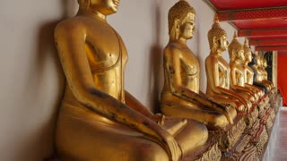 Golden Buddhas in Wat Pho (Temple of the Reclining Buddha), Bangkok, Thailand, Southeast Asia, Asia