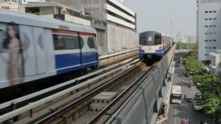 Skytrain that follows Phloen Chit Road, Bangkok, Thailand, Southeast Asia, Asia