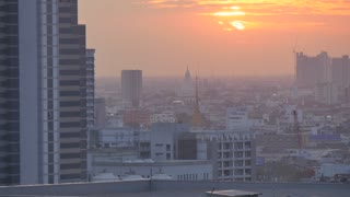 Sunset over city skyline, Bangkok, Thailand, Southeast Asia, Asia