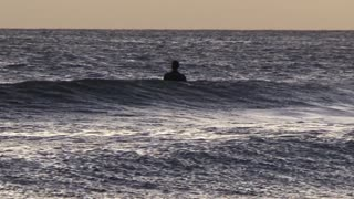 Surfer in the water waiting for waves, a wave then pan to bird flying over water and waves crashing, Dawn/dusk, Eastern Cape , South Africa