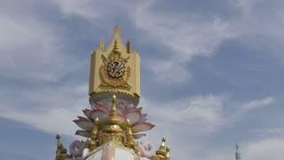 Symbolic elephants and The City Pillar Shrine (Lak Muang), Bangkok, Thailand, Southeast Asia, Asia