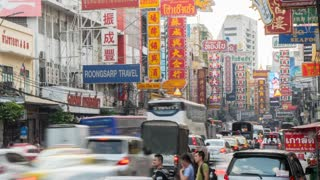 Traffic in Chinatown, Bangkok, Thailand, South East Asia, Asia