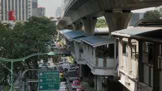 Traffic on Phloen Chit Road and Skytrain, Bangkok, Thailand, Southeast Asia, Asia