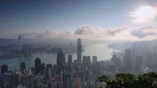 View of Hong Kong and Kowloon skylines, Hong Kong, China