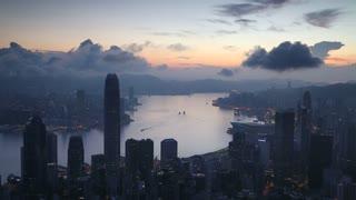 View of Hong Kong skyline at dawn, Hong Kong, China