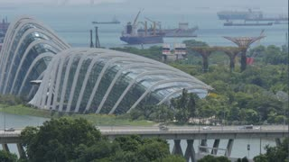View over Marina Bay and Garden by the Bay, Singapore, South Asia, Asia