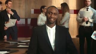 African American businessman look at camera