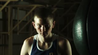 Combative look of the young boxer