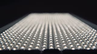 Rows of LEDs on and off the LED lamp light, Variable focus on LED lamp close up