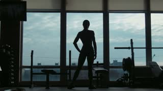 Silhouette of the attractive woman posing near a window in fitness hall