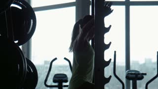 Silhouette of the girl pulling up on a horizontal bar