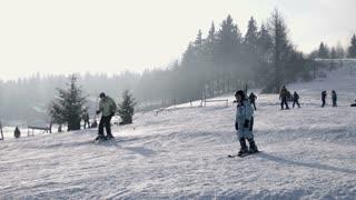 sunny day ski hill