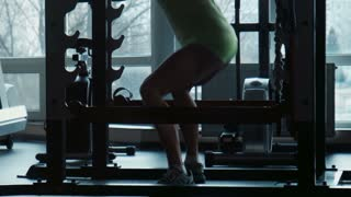 The girl does exercises in a gym