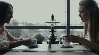 Two girlfriends drink coffee in cafe
