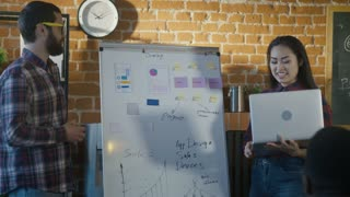 Man and woman making presentation of work on developing mobile application showing information on board