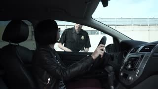 Police officer asking woman for documents during road check