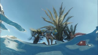 Underwater shot of toddler little child jumping into swimming pool
