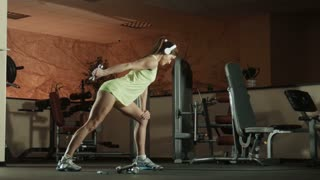 Woman is doing exercises with dumbbells in fitness pilates gym.