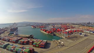 Aerial California Ocean Shipping Yard