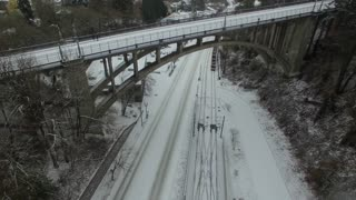 Aerial Oregon Portland Snowy