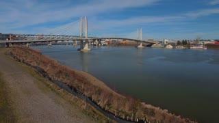 Aerial Oregon Portland Tillicum Bridge