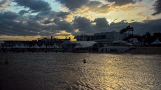 Time lapse of Cannes at sunset and of the film festival from the water.