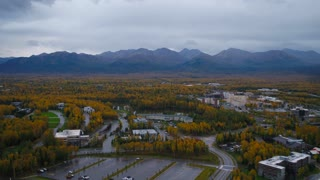 Aerial Alaska Anchorage Fall Colors September 2017 Overcast Day Wide Angle 4K Inspire 2 Prores