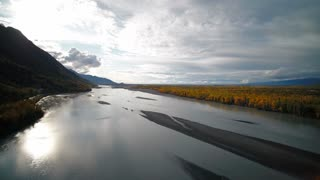 Aerial Alaska Knik River Wilderness September 2017 Sunny Day Wide Angle 4K Inspire 2 Prores