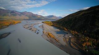 Aerial Alaska Knik River Wilderness September 2017 Sunny Day Wide Angle 4K Inspire 2 Prores