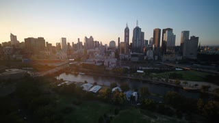 Aerial Australia Melbourne April 2018 Sunset 15mm Wide Angle 4K Inspire 2 Prores  Aerial video of downtown Melbourne at sunset.