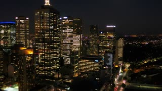 Aerial Australia Melbourne April 2018 Night 30mm 4K Inspire 2 Prores  Aerial video of downtown Melbourne at night.