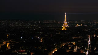 Aerial France Paris Eiffel Tower August 2018 Night 90mm Zoom 4K Inspire 2 Prores  Aerial video of the Eiffel Tower in Paris in the evening with a zoom lens from the 4th arrondissement.