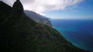Aerial Hawaii Kauai Kalalau Napali Coast State Park Trail November 2017 Sunny Day 4K Wide Angle Inspire 2 Prores  Aerial video of Kalalau Napali Coast State Park on Kauai in Hawaii on a sunny day.