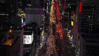 Aerial Korea Seoul April 2017 Gangnam Night