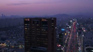 Aerial Korea Seoul April 2017 Gangnam Night
