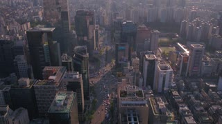 Aerial Korea Seoul April 2017 Gangnam Sunny Day