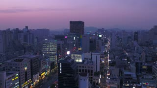 Aerial Korea Seoul April 2017 Gangnam Sunset