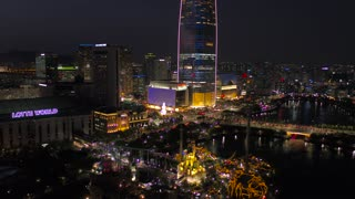 Aerial Korea Seoul April 2017 Jamsil Lotte Tower Night