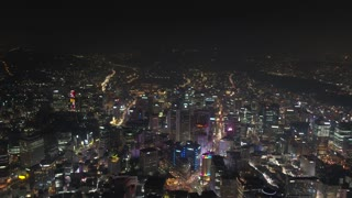 Aerial Korea Seoul April 2017 Seoul Tower Night