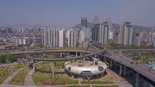 Aerial Korea Seoul April 2017 Ttukseom Resort Sunny Day
