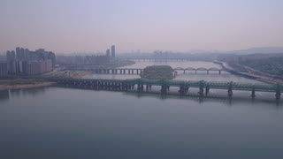 Aerial Korea Seoul April 2017 Yeouido Hazy Sunny Day