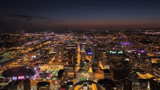 Aerial Missouri St Louis July 2017 Night 4K Inspire 2  Aerial video of St Louis in Missouri on a clear night