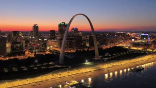 Aerial Missouri St Louis July 2017 Sunset 4K Inspire 2  Aerial video of St Louis in Missouri during a beautiful sunset.