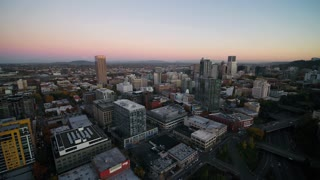 Aerial Oregon Portland NW Downtown November 2017 Dusk 15mm Wide Angle 4K Inspire 2 Prores  Aerial video of downtown Portland at dusk, just after sunset.