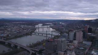 Aerial Oregon Portland Overcast