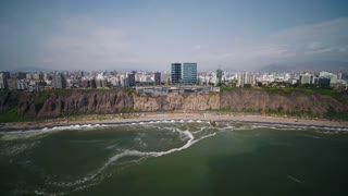 Aerial Peru Lima Larcomar February 2018 Sunny Day 4K Wide Angle Inspire 2 Prores  Aerial video of downtown Lima in Peru on a sunny day.