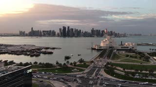 Aerial view from the Museum of Islamic Art on the Corniche with in the Dhow Harbour in Doha Qatar