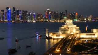 Aerial view from the Museum of Islamic Art on the Corniche with the Dhow Harbour in Doha Qatar