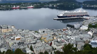 Alesund harbour with a big cruise ship in Norway
